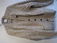 Image for Hand Knitted Irish V-Neck Cardigan Sweater Oatmeal
