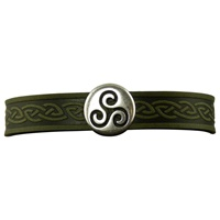 Image for Triskle Single Magnetic Cuff, Green Leather