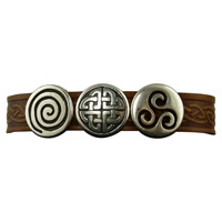 Image for Aoife 3 Charm Magnetic Cuff, Brown Leather