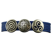 Image for Aoife 3 Charm Magnetic Cuff, Blue Leather