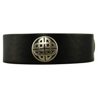 Image for Wide Silver Snap Cuff, Black Leather