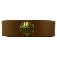 Image for Tan Leather Celtic Bracelet Wide by Lee River Co. Cork