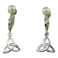 Image for Sterling Silver Clip On Trinity Earrings With Pearl