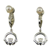 Image for Sterling Silver Clip On Tiny Claddagh Earrings with Pearl