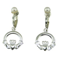 Image for Sterling Silver Clip On Claddagh Earrings with Pearl