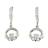 Image for Tiny Claddagh Sterling Silver CZ Wave Dangle Earrings