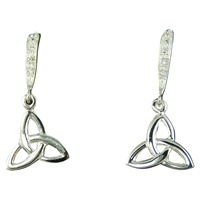 Image for Tiny Trinity Sterling Silver CZ Wave Dangle Earrings