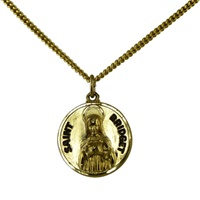 Image for Saint Bridget Gold Plated Pendant, Medium Round