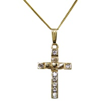 Image for Claddagh Cross Pendant, 14K Yellow Gold w/Diamonds