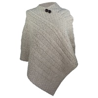 Image for Merino Wool Aran Plaited Poncho Cape, Biscuit