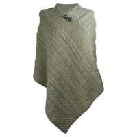 Image for Merino Wool Aran Plaited Poncho Cape, Green