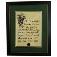 "Image for ""Family Like Branches of a Tree"" Green Matted Black Framed Print, 8 x 10"""