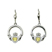 Image for Gold Plated Stamped Heart Claddagh Leverback Earrings
