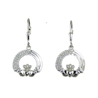 Image for Sterling Silver Tri-Layered Claddagh Leverback Earrings