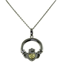 Image for Gold Plated Stamped Heart Claddagh Pendant