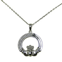 Image for Sterling Silver Tri-Layered Claddagh Pendant