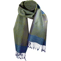 Image for Rathlin Woven Celtic Pashmina Scarf, Purple/Blue/Green