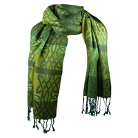 Image for Achill Woven Celtic Pashmina Scarf, Green/Gold Tone