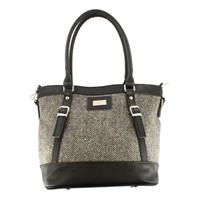 Image for Mucros Weavers Pocketbook Kelly Bag, Grey Herringbone