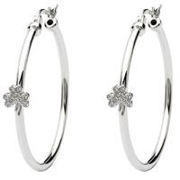 Image for Shamrock Sterling Silver Hoop Earrings Adorned with Swarovski Crystals