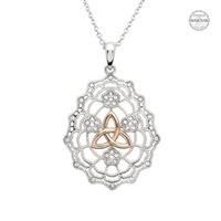Image for Sterling Silver Irish Lace Rose Gold Trinity SW Necklace
