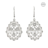 Image for Sterling Silver Irish Lace Trinity SW Lever Back Earrings