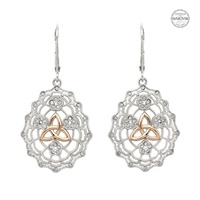 Image for Sterling Silver Irish Lace Rose Gold Trinity SW Lever Back Earrings