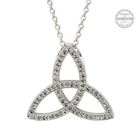 Image for Shanore Sterling Silver Celtic Trinity Knot Pendant Embellished with Swarovski Crystals