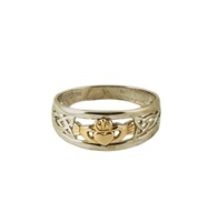 Image for Ladies 10K Two-Tone White and Yellow Gold Claddagh Ring