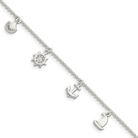 Image for Sterling Silver Polished Ocean Theme with 1-inch Extender Anklet