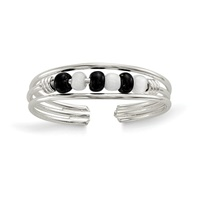Image for Sterling Silver Black and White Beaded Toe Ring