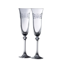 Image for Galway Crystal Claddagh Ring Shamrock Flute Pair