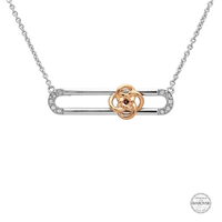 Image for Sterling Silver Celtic Knot Slider Rose Gold Swarovski Necklace