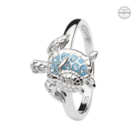 Image for Sterling Silver Mother and Baby Turtle Ring with Aqua Crystals