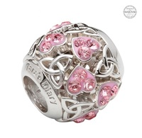 Image for Sterling Silver Swarovski Trinity Heart Pink Bead