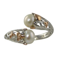 Image for Anu Sterling Silver Pearl and Rose Gold Trinity Knot Ring
