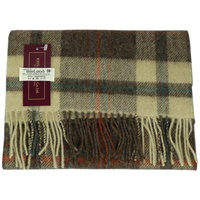 Image for Lambswool Scarf - Beige/Brown/Red/Teal Plaid
