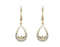 Image for 14K Yellow Gold Diamond Set Claddagh Teardrop Earrings