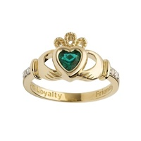 Image for 14K Yellow Gold Diamond Claddagh Birthstone Ring, May