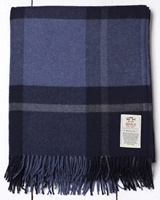 Avoca Handweavers Cashmere Blend Throw, Navy Check