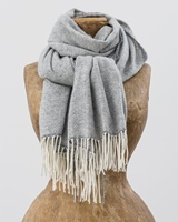 Image for Avoca Handweavers Cashmere Wool Sandymount Scarf, White/Grey