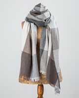 Image for Avoca Handweavers Merino Wool and Cashmere Blend Gracie Stole, Grey/Neutral