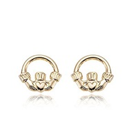 Image for 14K Yellow Gold Claddagh Stud Earrings
