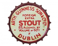 Image for Guinness Red Vintage Metal Bottle Cap Sign