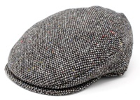 Image for Hanna Vintage Snap Flat Cap, Grey Fleck