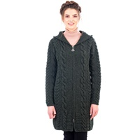 Image for Aran Cable Knit Hooded Zip Coatigan Irish Sweater - Geen