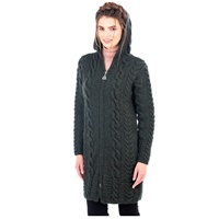Image for Irish Aran Cable Knit Hooded Zip Coatigan Irish Sweater, Army Green