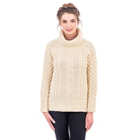 Image for Ladies Fisherman Wool Funnel Neck Sweater