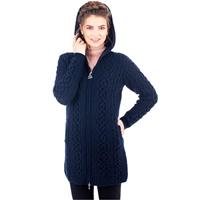 Image for Celtic Aran Hooded Jacket, Navy
