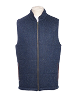 Image for Tweed Body Warmer With Leather Trim, Blue